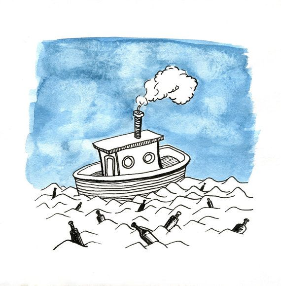 Tugboat on the Sea Print of Original Drawing with by FrancesMarin, $20.00