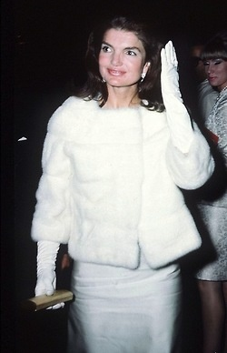 Jackie in white. So Chic.