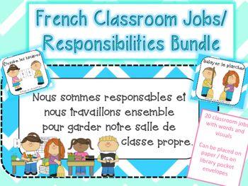 French Classroom Jobs + Responsibilities Visuals