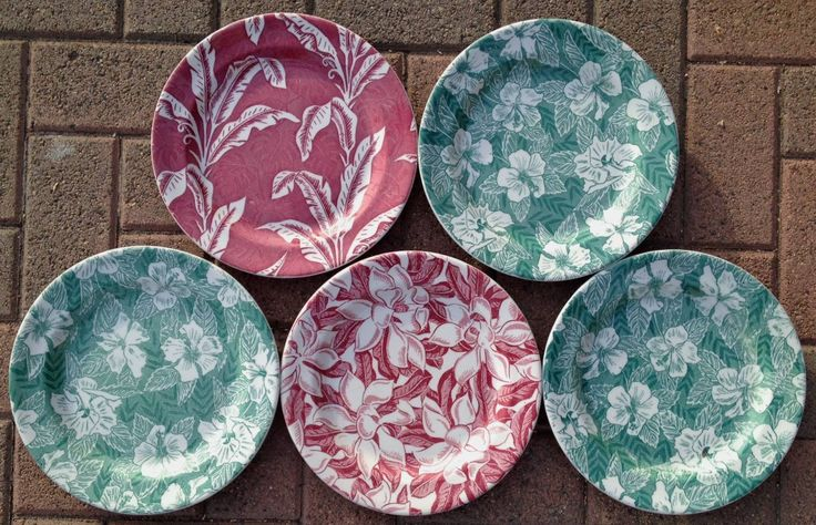 TEPCO Large tropical dinner plates - hibiscus, palm, magnolia