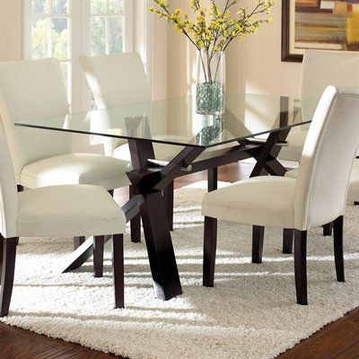 Steve Silver Company BE500 Berkley Glass Top Dining Table