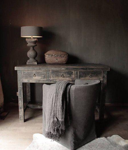 Oude zwart houten Buro/Bureau/Sidetable