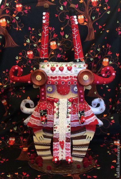 Любовь Лаврентьева. Красный дух леса. - ярко-красный,авторская кукла,красный дух,кукла из фанеры
