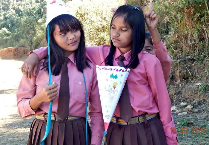 Mizo school girls of Hnahthial, Lunglei DIstrict, Mizoram, India