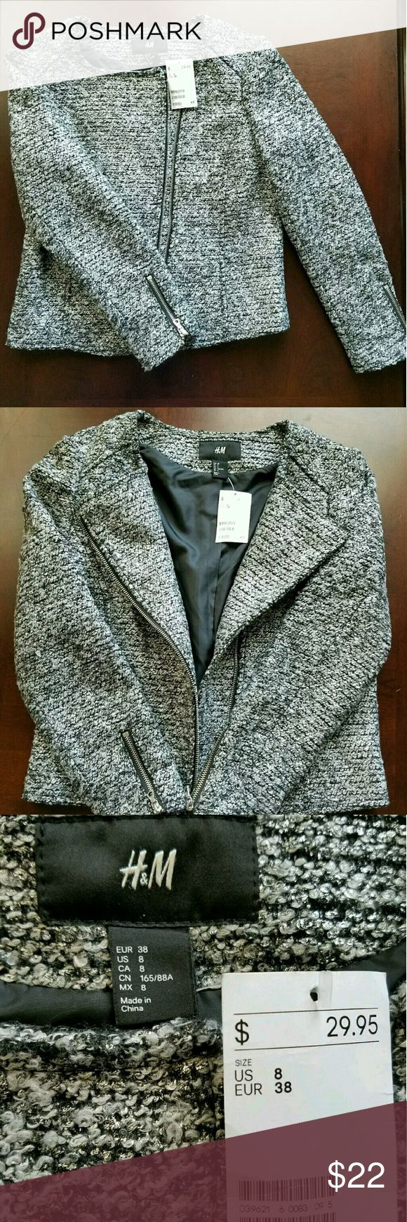 H&M Jacket Size 8 H&M womans Tweed/leather Moto gray and black Jacket Size 8 new with tags  Comes from smoke and pet free home. H&M Jackets & Coats Blazers