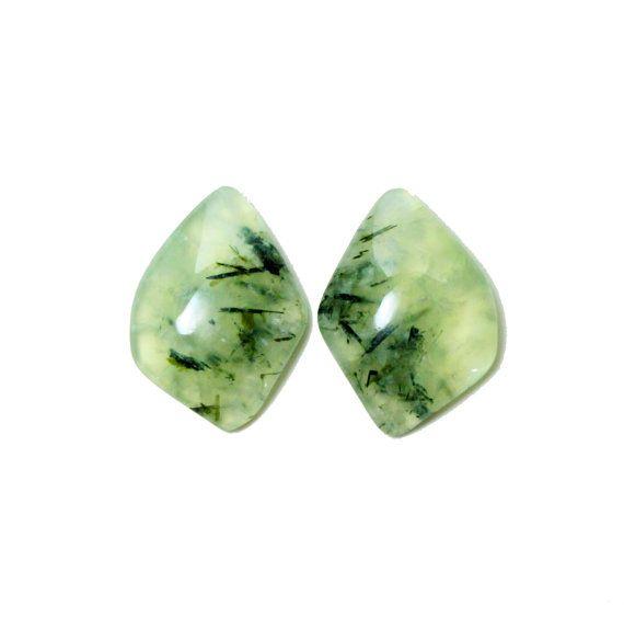 Prehnite fancy cut cabochon gemstone pair by SARAHHUGHESfinegems