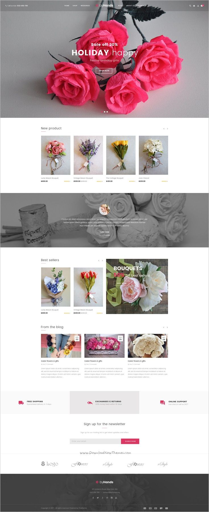 ByHands is a minimal design #Photoshop template for #flower store eCommerce #website download now➩ https://themeforest.net/item/byhands-flower-store-psd-template/19102659?ref=Datasata