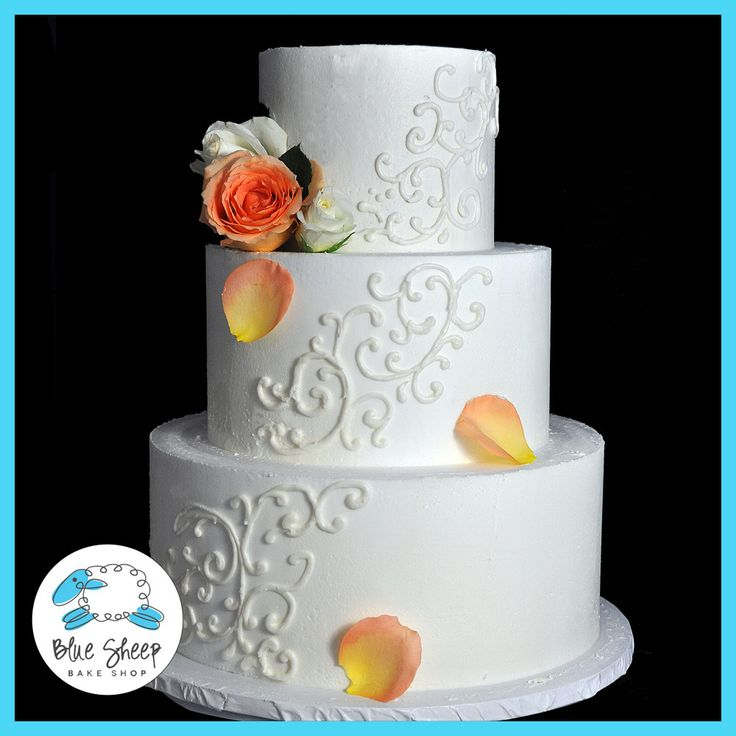 Buttercream Wedding Cake With Filigree and Roses – Blue Sheep Bake Shop