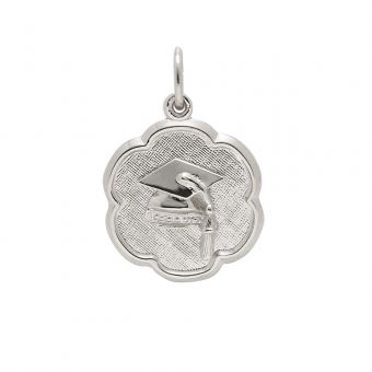 Sterling Silver Charm - #Grad Cap on Scallop Disc #thingsengraved #thingsengravedgifts