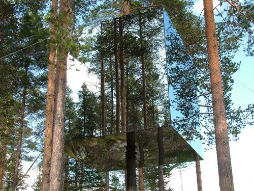Take a Swedish adventure into the wilderness with this month's Destination Design — the curious and odd vacation destination called Treehotel. Located in the small town of Harads, Sweden, Treehotel takes advantage of the natural surroundings and dense forests using them to serve as privacy for their sweet little getaway cabins nestles in the trees. Each small themed treehouse guestroom is suspended above the ground.