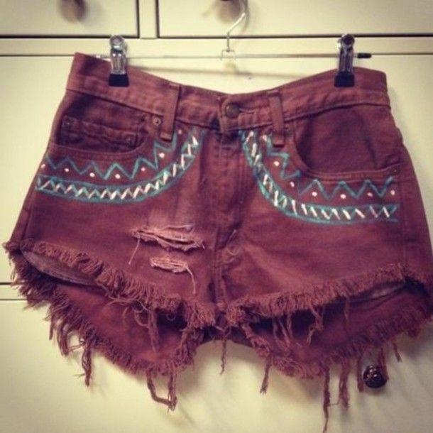 shorts tribal shorts tribal frayed purple