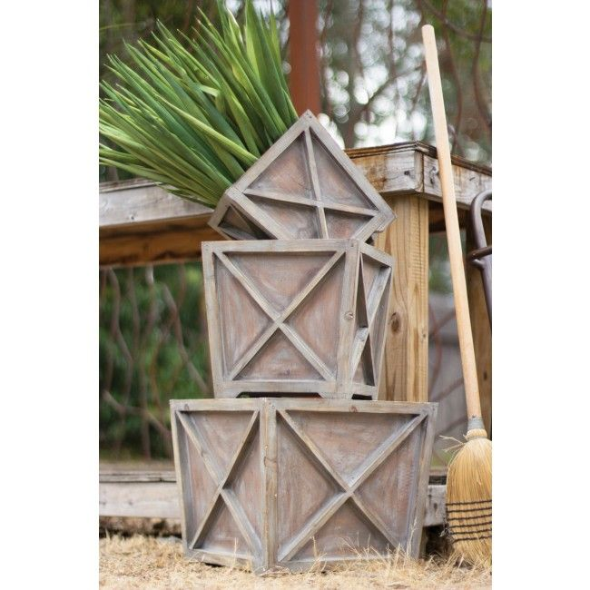 Set Of 3 Wooden Planter Boxes With Cross Design - CJJ2258