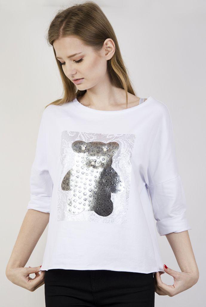 Biała bluzka ze srebrnym misiem
