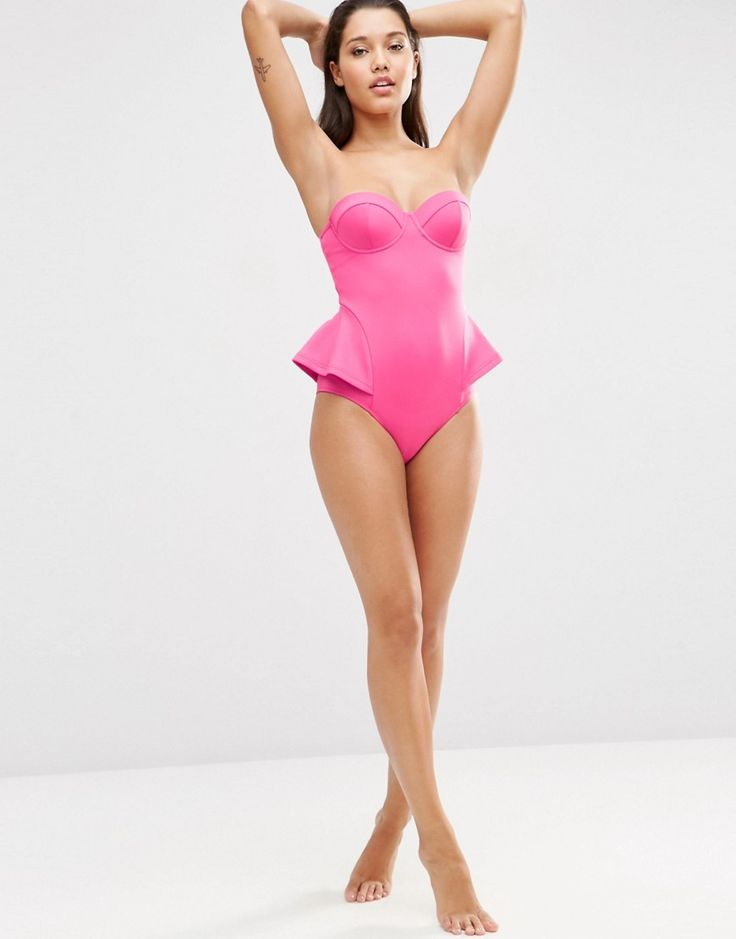 Image 4 of ASOS Scuba Peplum Swimsuit