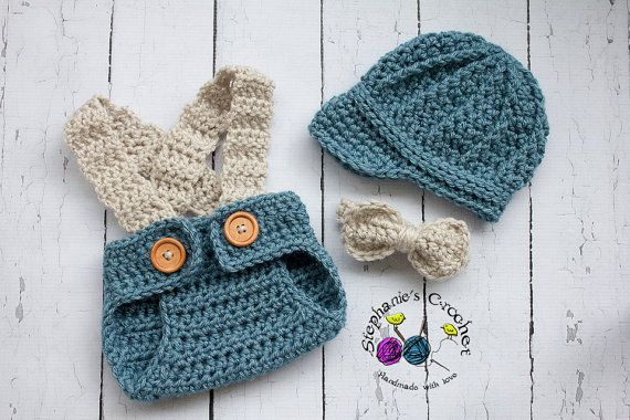 Crochet Newborn hat baby boy hat newsboy hat set by Stephyscrochet, $40.00