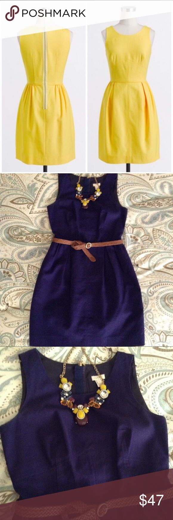 J. Crew Imperial Purple Dress A flattering fit and flare dress in a summery textured cotton that's a vibrant, deep violet. Piping defines the waist while seams give you  shape under the bust and at the back of the dress. Pleats give the skirt a little fullness. Exposed zipper. Bra strap keeps. Size 0. EUC with no signs of wear. Make an offer! J. Crew Dresses