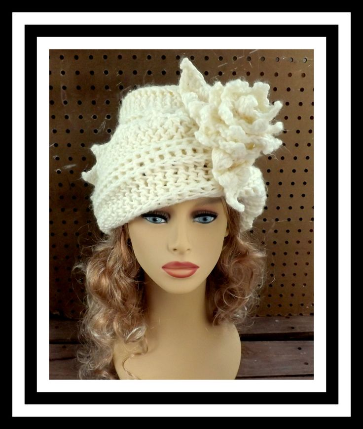 Ivory Crochet Hat Womens Hat Crochet Cloche Hat Crochet Flower Steampunk Hat  Ivory Hat Winter Hat LAUREN Cloche Hat with Flower 45.00 USD by #strawberrycouture on #Etsy - MUST SEE!