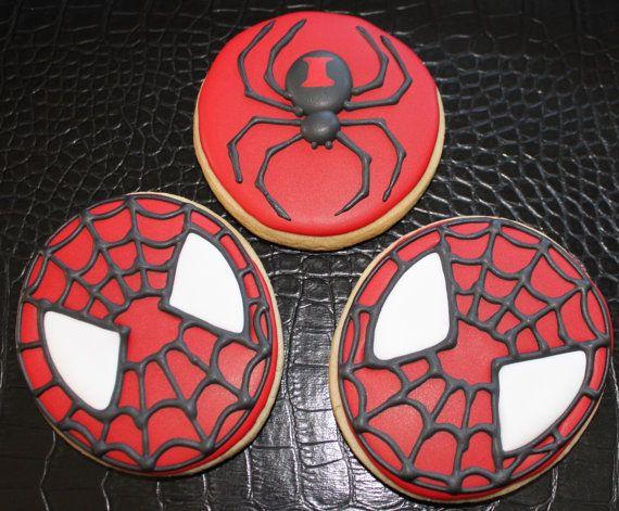 Spider-Man Cookies, spider cookie favors, custom cookies, super hero cookies, birthday cookie favors, boys birthday cookies