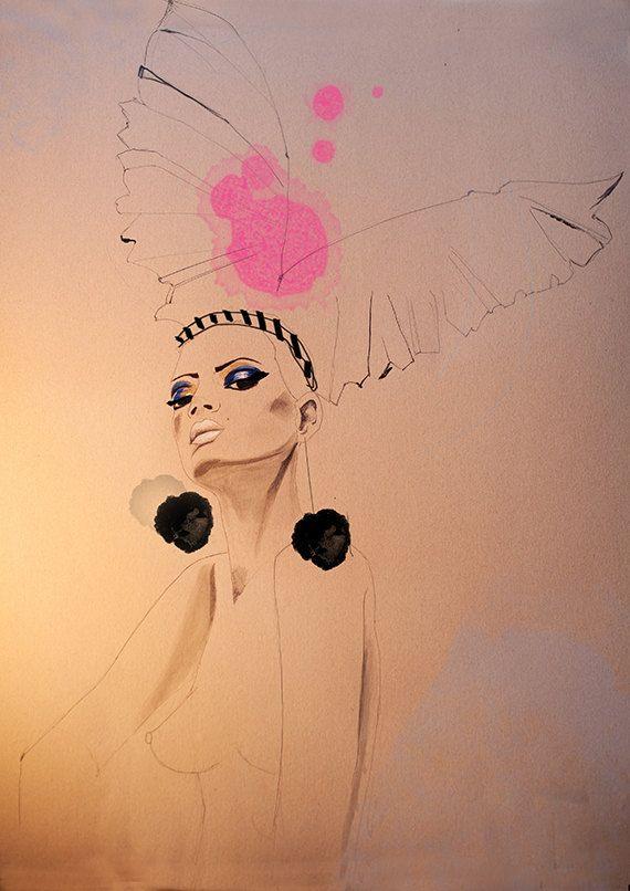 fashion illustration, acrylic painting, portrait, drawing, beige, pink, nude drawing, fashion art
