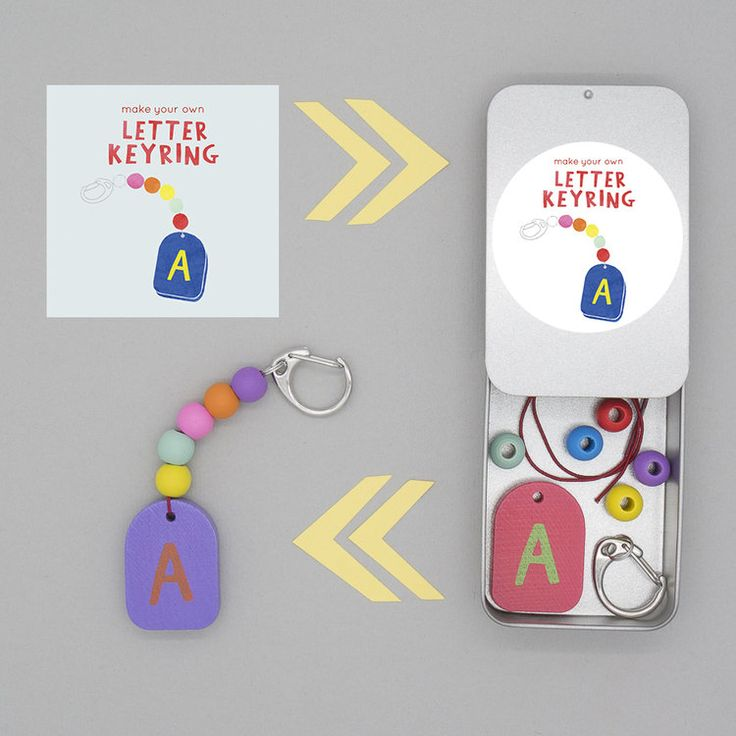make your own personalised letter keyring, gift tin from Cotton Twist