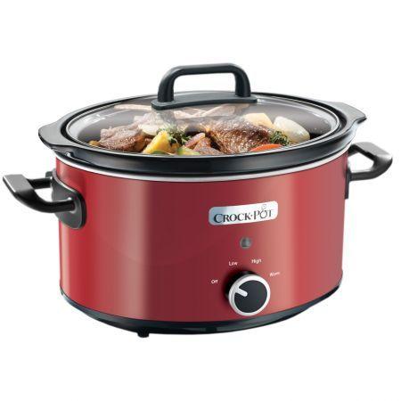 Slow cooker Crock-Pot SCV400RD-050, 3.5 l, 2 Setari gatit, Functie pastrare la cald, Vas de ceramica detasabil, Rosu