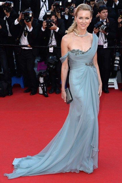 Naomi Watts wore a custom-made Marchesa gown with a Bulgari diamond necklace at Cannes 2014