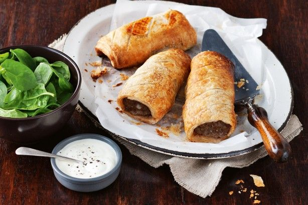 Only six ingredients are needed to create these spicy Moroccan lamb sausage rolls with yoghurt sauce.