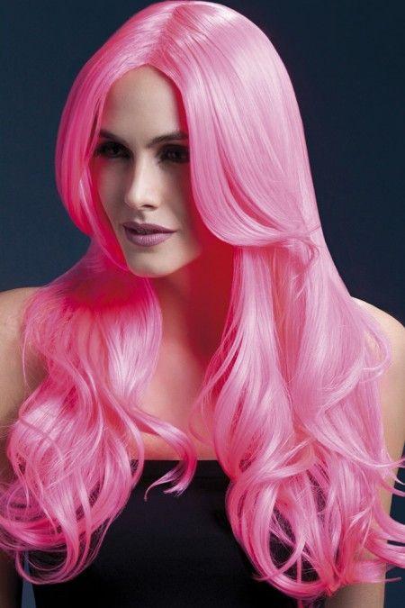 Khloe Wig in Neon Pink