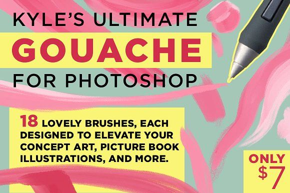 Kyle's Gouache Brushes for Photoshop by Kyle's Pro Design Tools  on @creativemarket
