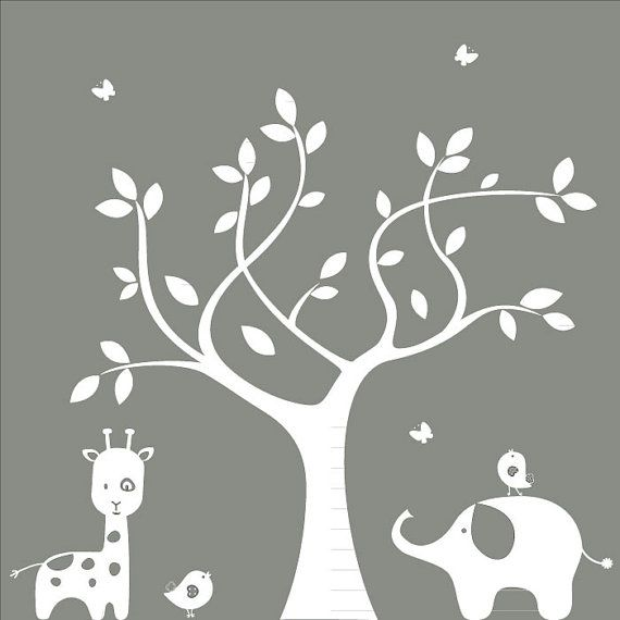 Nursery wall decal - Silhouette Tree, Elephant, Giraffe, Birds - Wall Decal