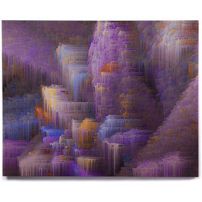 "East Urban Home 'Purple Mountain Majesty' Graphic Art Print on Wood Size: 11"" H x 14"" W x 1"" D"