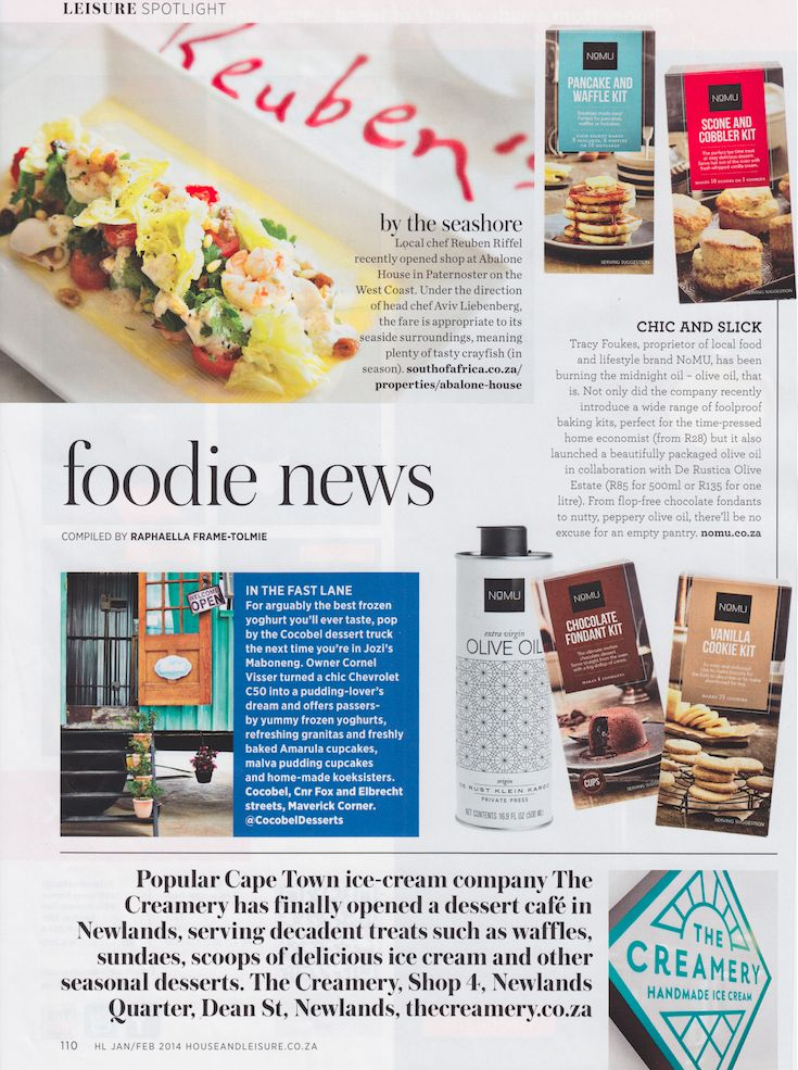 Foodie News | A great article on our new NoMU Olive Oil and Baking Kits range in the January 2014 Issue of House and Leisure!