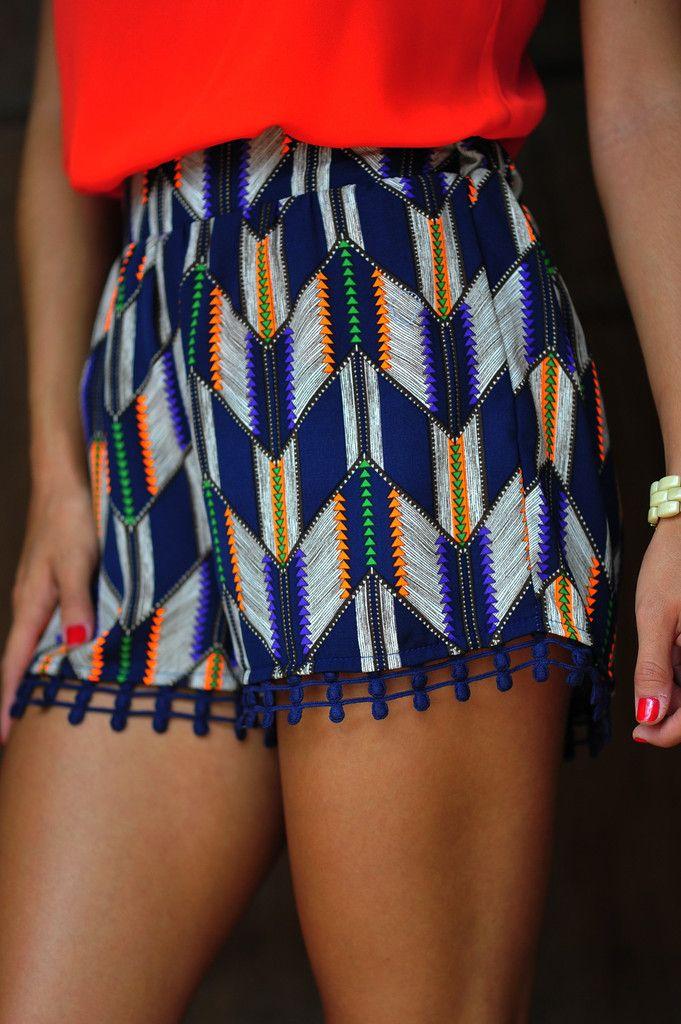 native print shorts