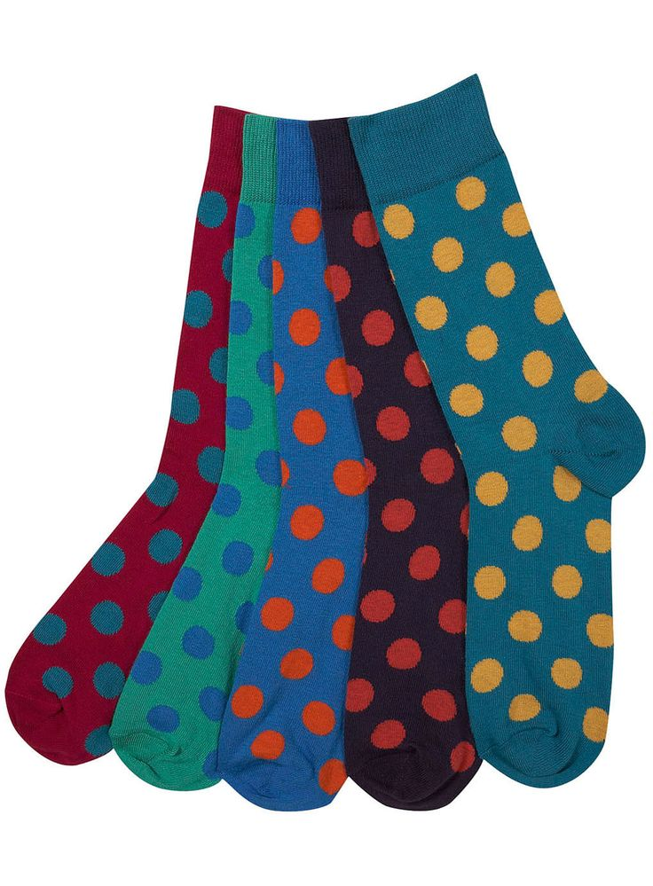 Men's Bright Spotty 5 Pack Socks by Topman ... Rad under a plain suit with brogues
