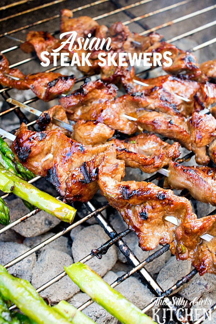 steak sliced thinly, marinated in a hoisin sauce, skewered and grilled ...