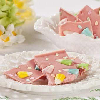 Ingredients        White Chocolate Almond Bark      Pink Gel Food Coloring      Easter Candy      Easter Sprinkles