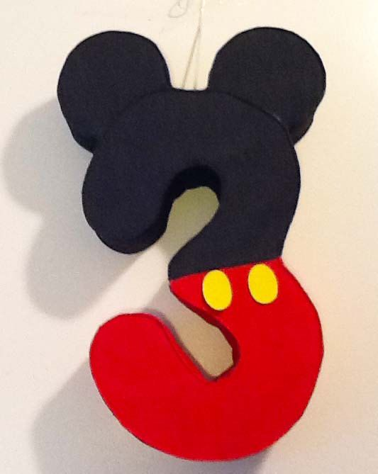 Mickey Number Piñata, Mickey mouse birthday Party theme custom Made mickey mouse decoration