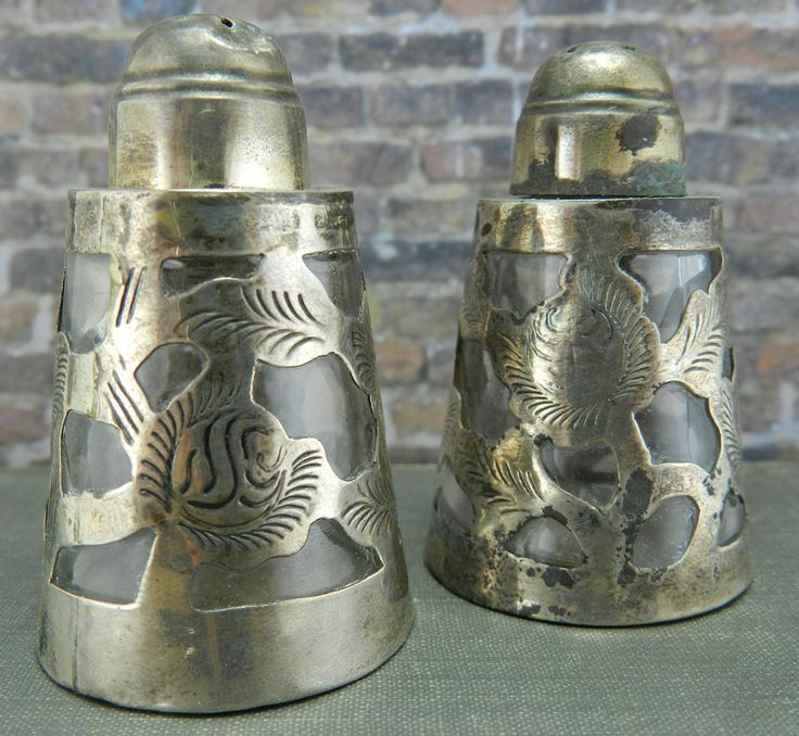 Antique ReVisions - Antique Signed LHM Mexican Silver Eagle Mark Sterling Salt & Pepper Shakers