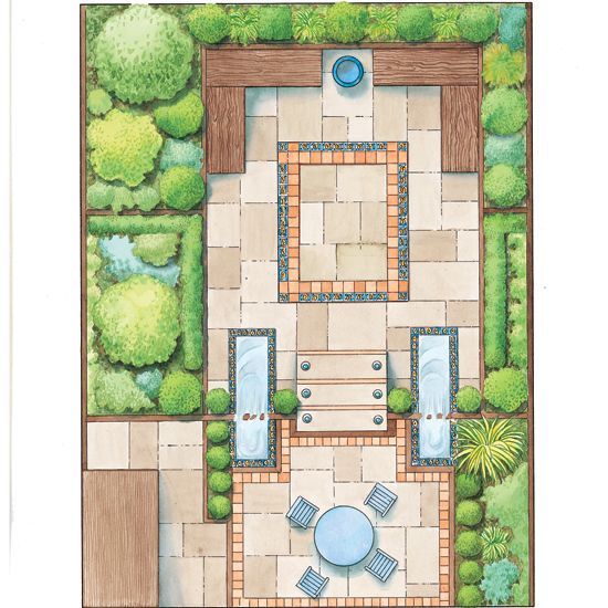 build an upper deck over the south side of the garden and continue out below with - Garden Design Layout Plans