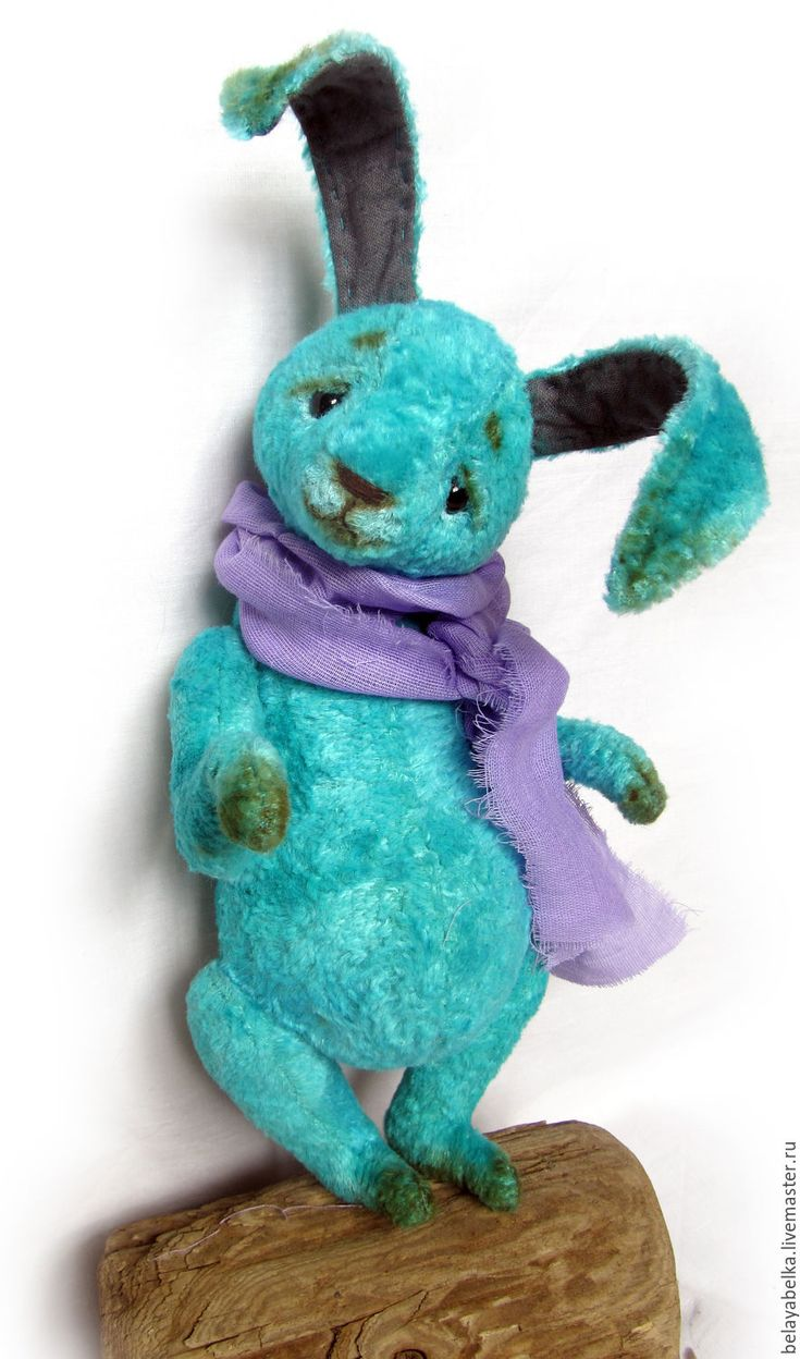 Teddy toy bunny / Летний Дождь - бирюзовый, зайчик тедди, зайчик игрушка, зайчик из плюша, плюшевый заяц