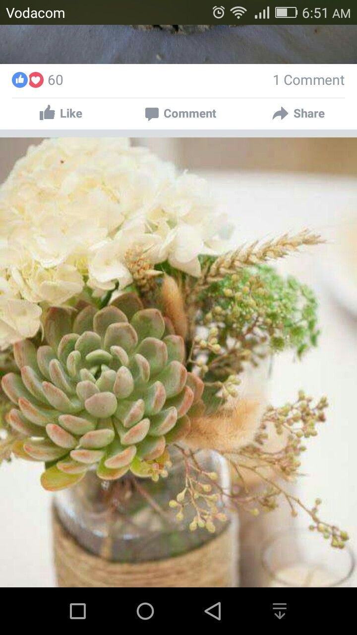 wedding centerpieces fake flowers%0A Centerpieces  Succulents  white hydrangeas  and pops of wheat  in a vintage  tin