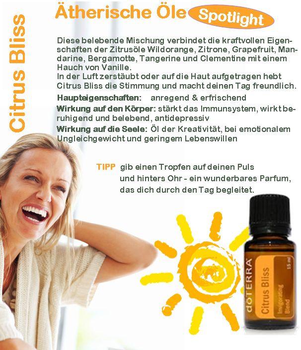 Citrus Bliss von doTERRA ätherische Öle bringt Sonne in deinen Tag. Einen Tropfen auf den Puls auftragen oder 1-3 Tropfen in deine Körperpflege macht sofort gute Stimmung.