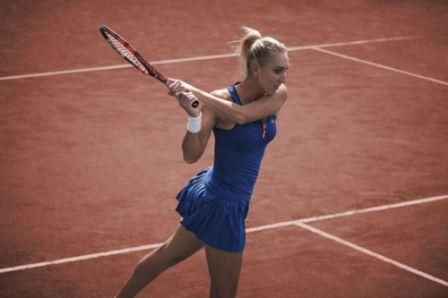 Elena Vesnina in new #Lacoste clothes intended for #RG2015