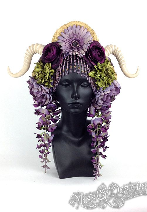 MADE TO ORDER  Flower Headdress with Horns by MissGDesignsShop, $385.00