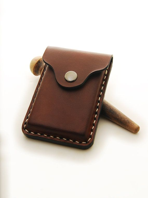 Handmade Leather Business Card Holder With 2 Credit от EchoSix