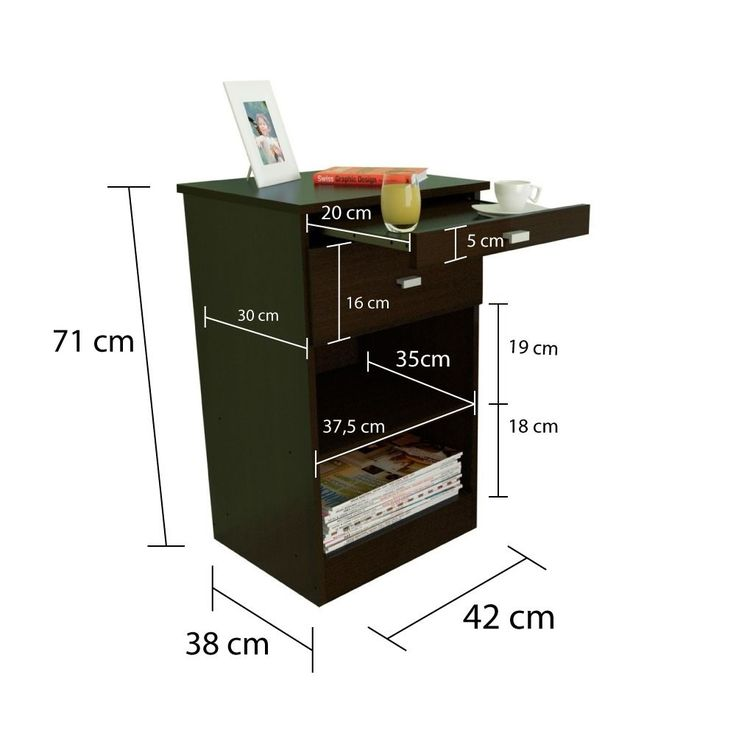 Mesa De Luz Mesita Con Desayunador Moderna Wengue Envíos - $ 519,00 en MercadoLibre