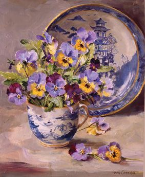 Ann Cotterill   OIL                          Pansies with Willow-Pattern-Plate