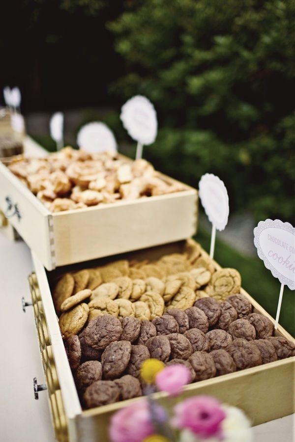 Hey Ladies, here is the image I had in my head for the cookie bar. We would use wood crates, like fruit crates. Like?