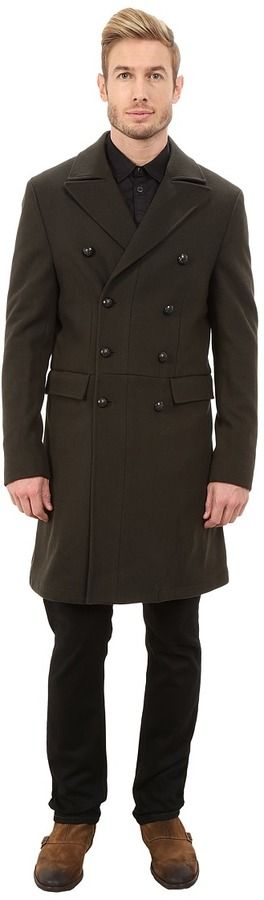 John Varvatos Military Inspired Double Breasted Peacoat O1288R3L