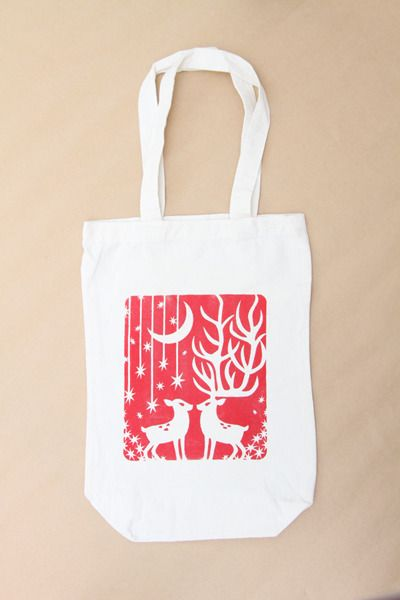 xmas tote bag / red design by itoyoshi for 3pondS minne(ミンネ)| xmasトートバック・赤